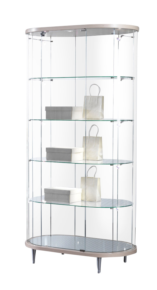 runde glas vitrine cabrera aus holz alu prospektst nder gmbh. Black Bedroom Furniture Sets. Home Design Ideas