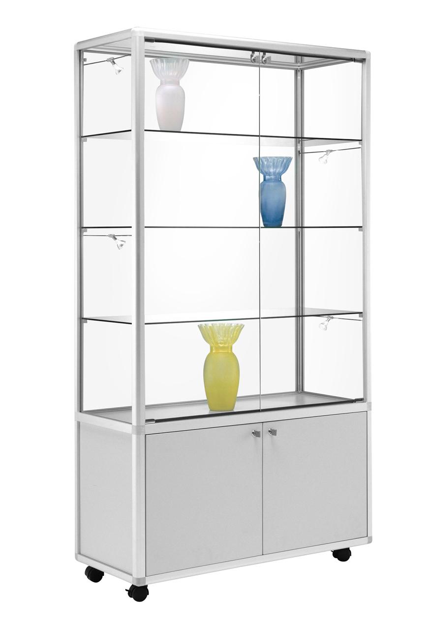 rollbare glas vitrine mit abschlie barem unterschrank alu prospektst nder gmbh. Black Bedroom Furniture Sets. Home Design Ideas
