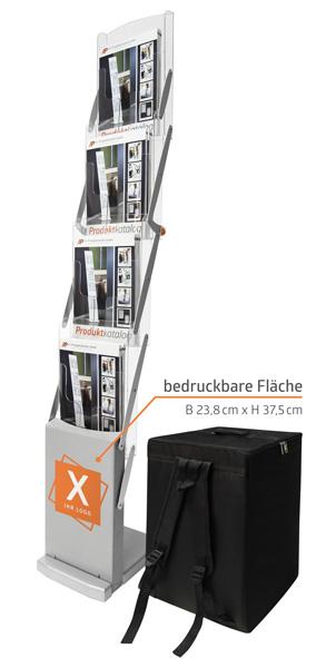 Faltbare Prospektständer DIN A4 mit Rucksack