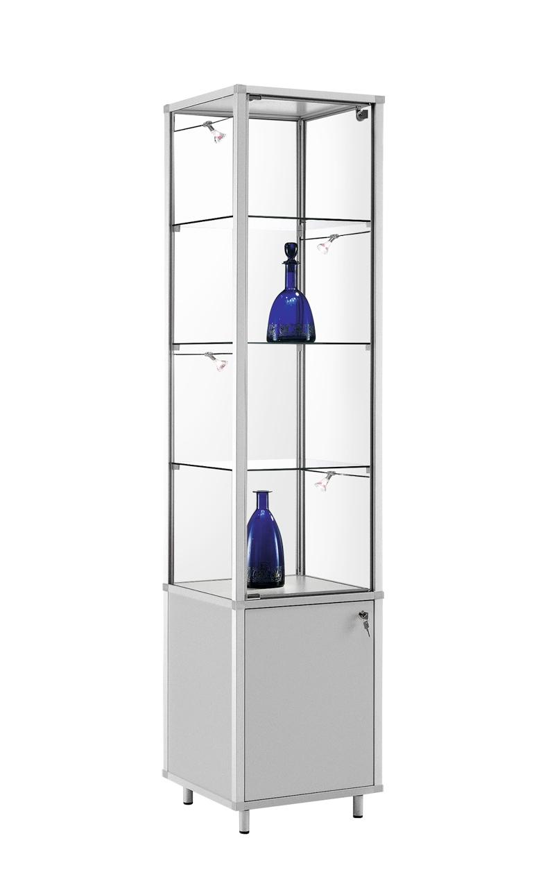glas vitrine nicola mit abschlie baren unterschrank alu prospektst nder gmbh. Black Bedroom Furniture Sets. Home Design Ideas